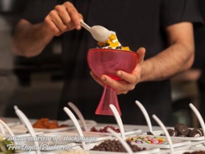 Man Topping Ice Cream